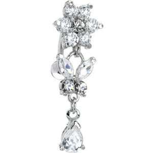 Top Drop Clear Gem Floral Butterfly Titanium Belly Ring Jewelry