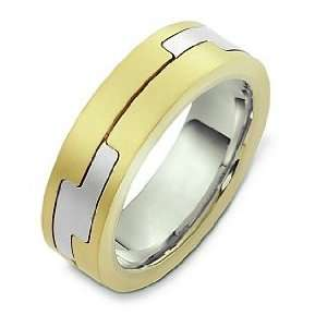 14 Karat Two Tone Gold Unique Designer Wedding Band Ring   9 Jewelry