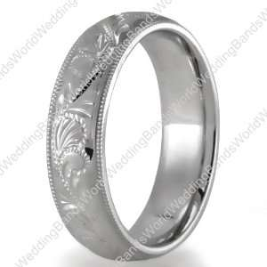 Hand Engraved Wedding Bands,14K Gold 5mm Wide Jewelry
