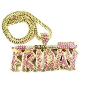 NICKI MINAJ BARBIE Pink Friday Pendant Chain Gold Pink Jewelry