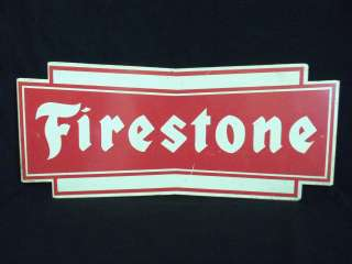 VINTAGE FIRESTONE TIRE GAS STATION DISPLAY SIGN red & white RACE CAR
