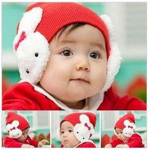 Cute Cartoon Knitting Wool Baby Rabbit Earflap Cap Hat