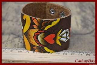 Mens Vingtage Look Brown Red Heart Sword Design Leather Bracelet Cuff