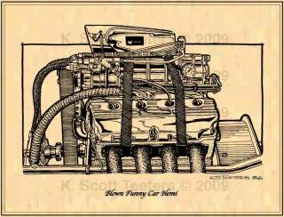Chrysler Blown Funny Car Hemi Classic Drag Racing Engine Art