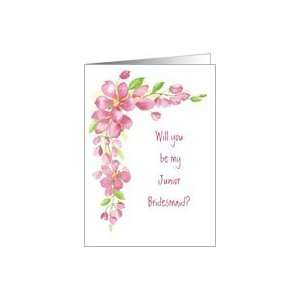 Cherry Blossom Pink   Junior Bridesmaid Wedding Invitation Card