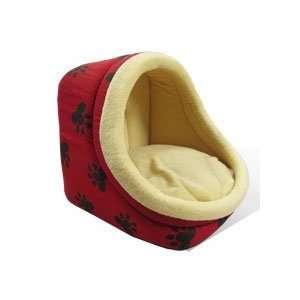 New Large Pet Dog / Cat Bed Red/Cream with Paw Prints