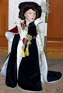 FRANKLIN MINT ELIZABETH II PORCELAIN DOLL MIB COA