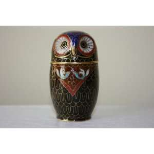 Beijing Cloisonne Owl Toothpick Holder (Black)